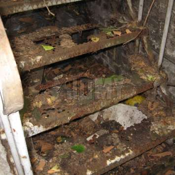 A rotten steel stair after 30 years