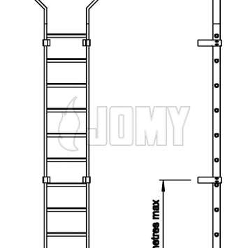 Basic dimensions of JOMY aluminum cage ladder