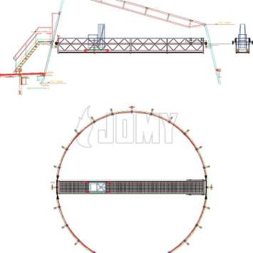 CAD drawing of a workplatform with a telescopic gantry - Building Maintenance Unit