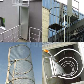 Cage ladders from JOMY benefit from many options, including: safety doors, integrated lifeline, RAL color powder coating, custom made to specs etc.