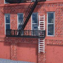 Evacuation ladder for external staircases to connect the bottom balcony to the ground floor.