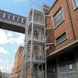 Fire escape stairs for a factory.
