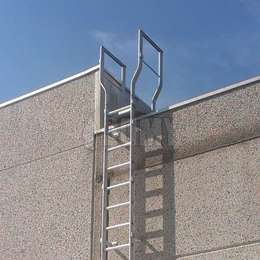 Wall-mounted fixed ladder used to access a roof and equipped with a platform for parapet crossing.