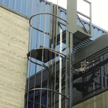 Hanging mobile cage ladder for window cleaning - Building Maintenance Unit
