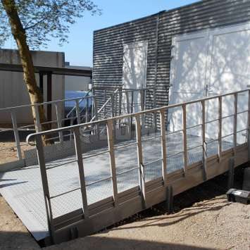 Industrial metal access ramp for all types of vehicles.