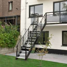 Aluminium deck stairs for garden access.
