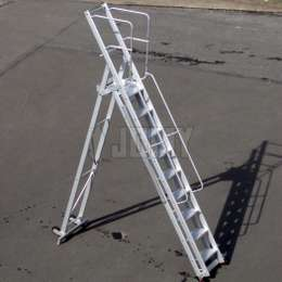 Lightweight foldable mobile step ladder and platform for aicraft maintenance.