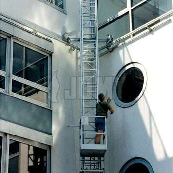 Mobile ladder with gantry on a curved wall - Building Maintenance Unit