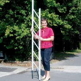Foldable ladder that can be easily stored and transported. Section of only 64 x 48mm when closed.