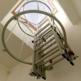 Skydome drop-down ladder with cage and drop-down flight