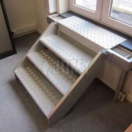 4 step aluminum stair for window access in case of a fire evacuation.