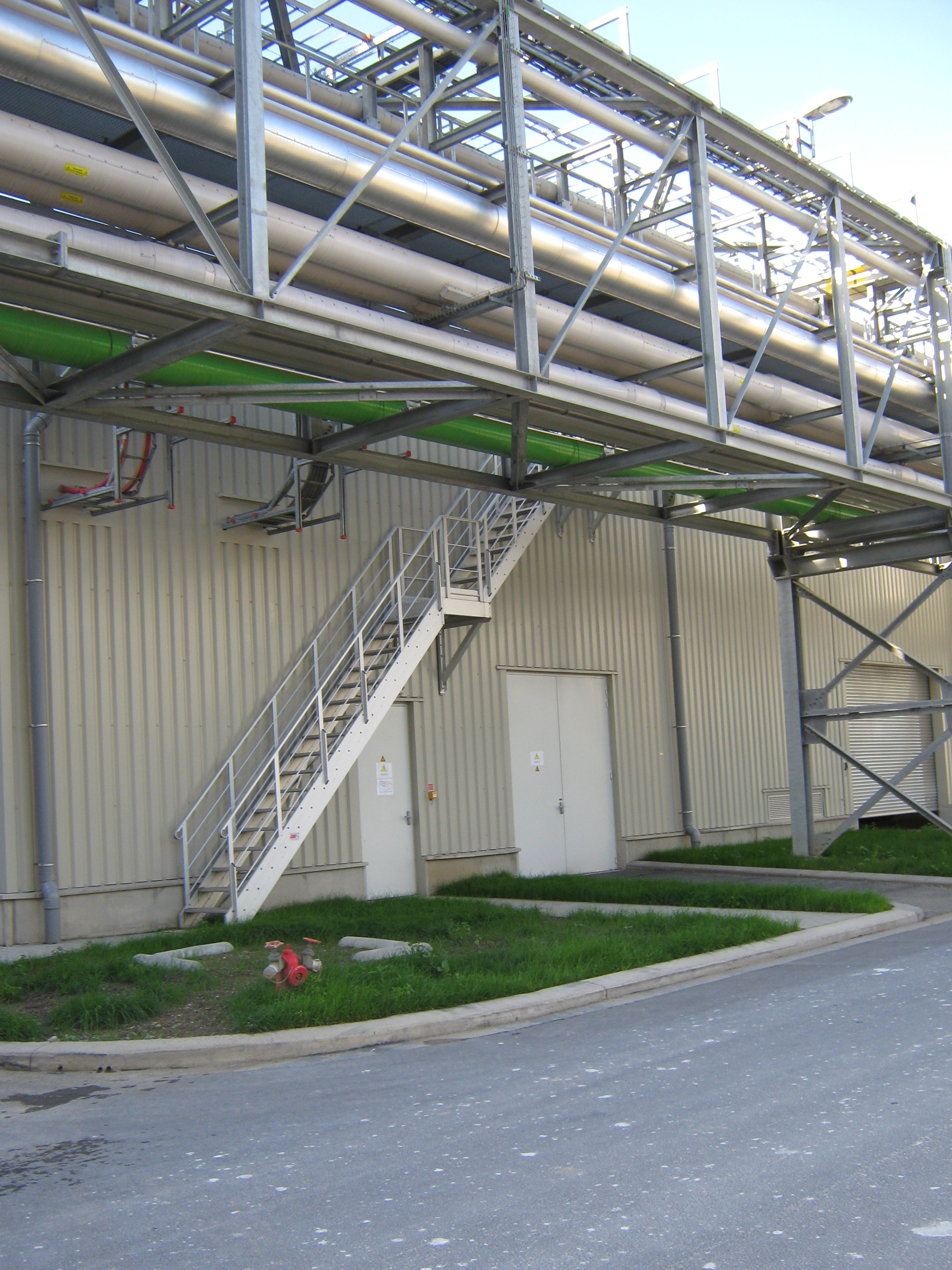 Industrial stairs for piping access