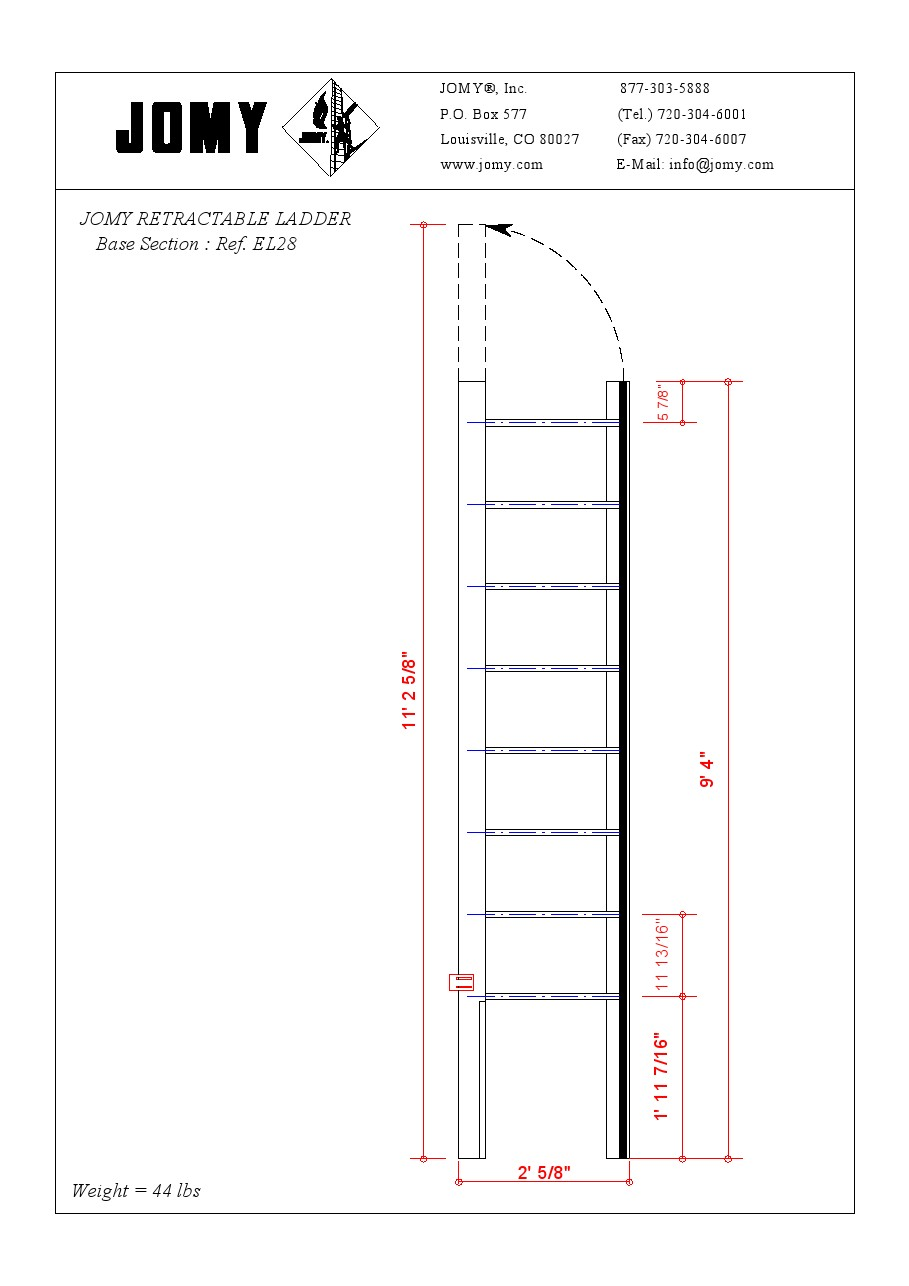 Jomy Standard Sizes Of The Jomy Retractable Ladder