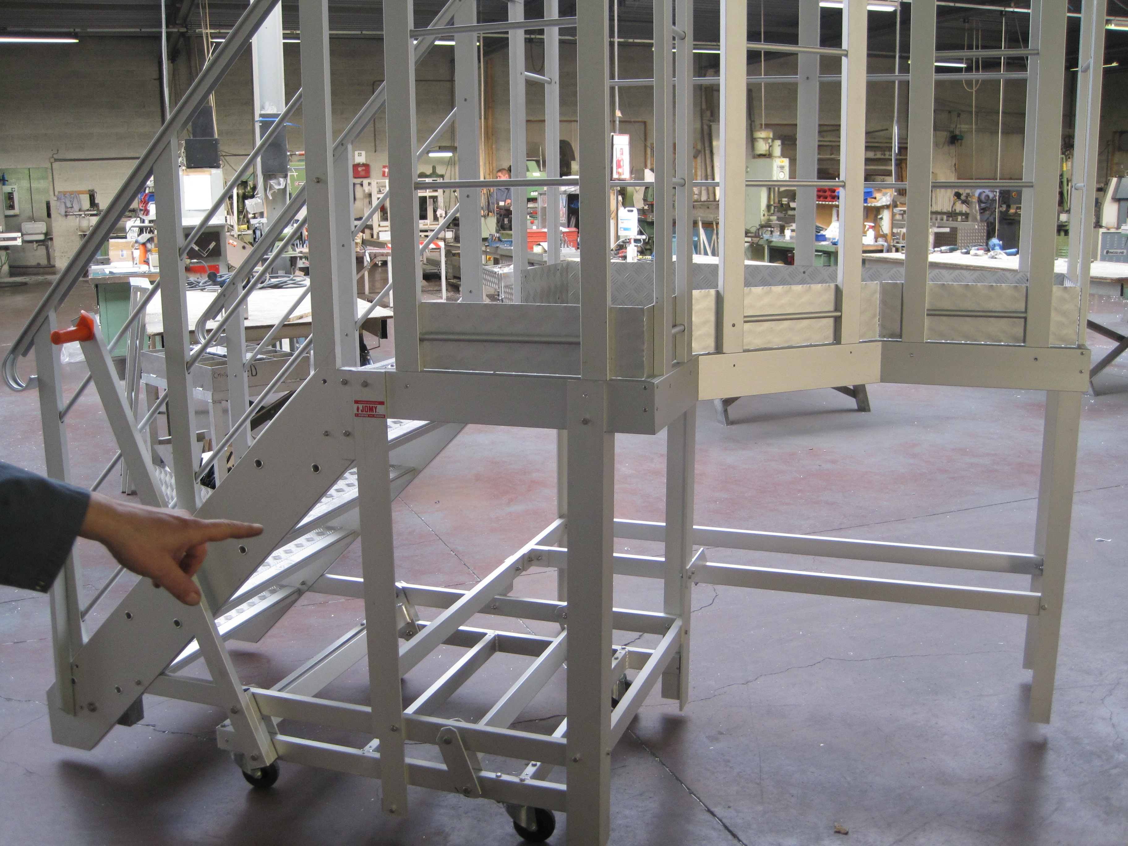 Movable aluminum stairs