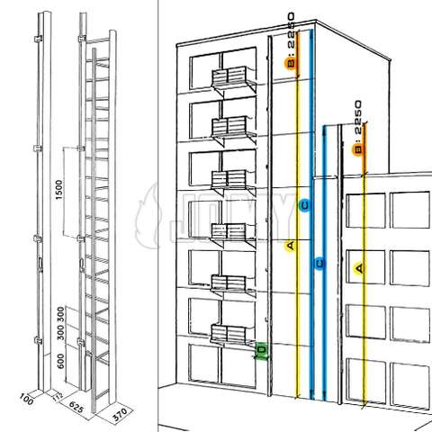Graphic illustration showing the different measurements to take when considering the installation of a JOMY or Mini-JOMY foldout retractable ladder.
